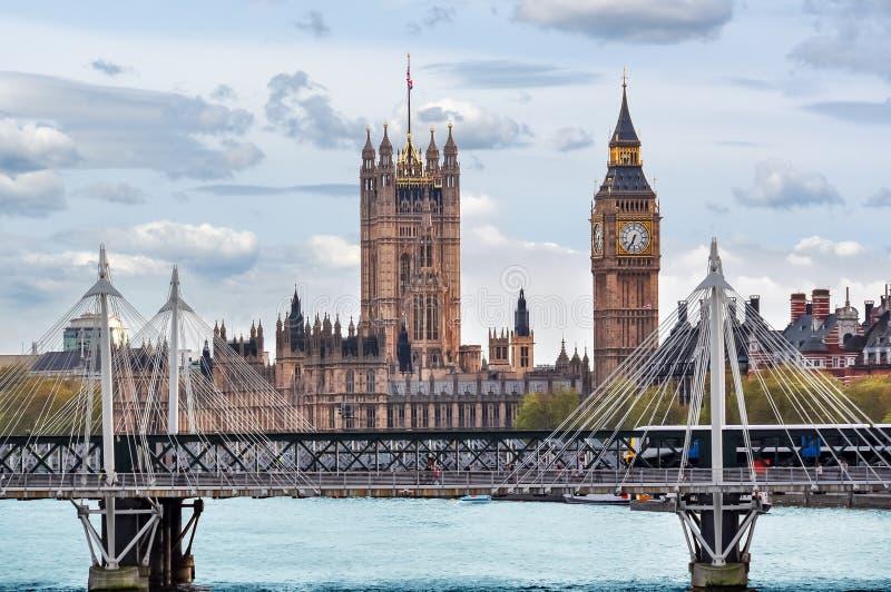 Πύργος Big Ben και Βικτώριας των σπιτιών του Κοινοβουλίου, Λονδίνο, UK στοκ εικόνα