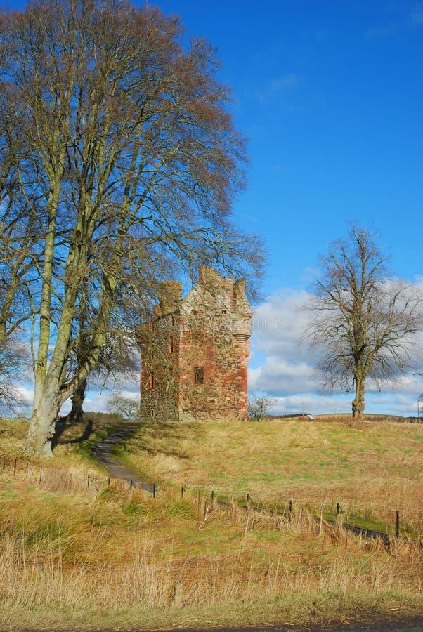 Πύργος Greenknowe στο χειμερινό ήλιο, σκωτσέζικα σύνορα στοκ εικόνες με δικαίωμα ελεύθερης χρήσης