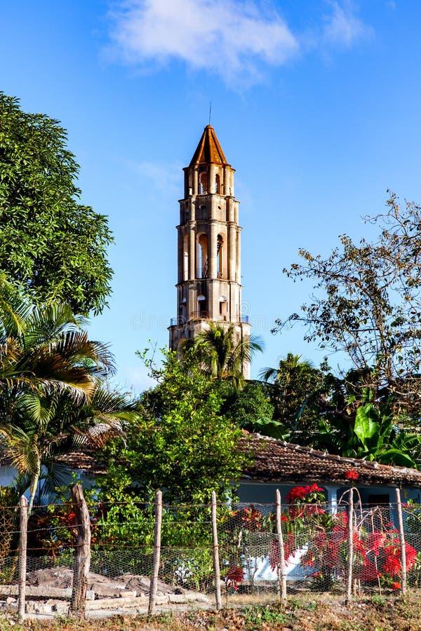 Πύργος Iznaga Manaca Valle de Los Ingenios, Τρινιδάδ, Κούβα: στοκ φωτογραφία