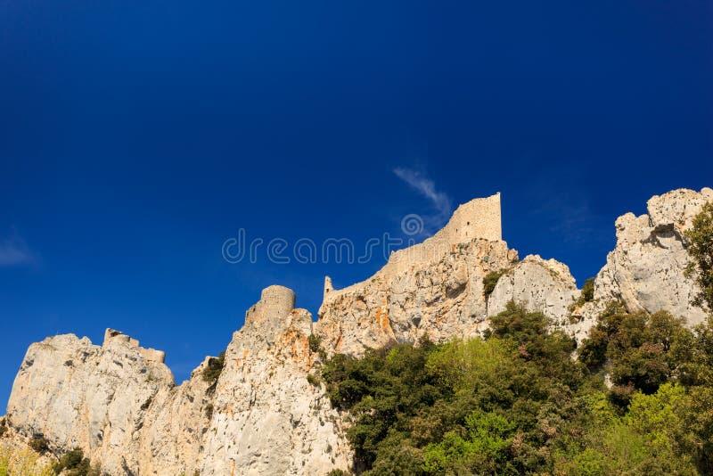 Πύργος Peyrepertuse, μεσαιωνικό cathar κάστρο στοκ εικόνες