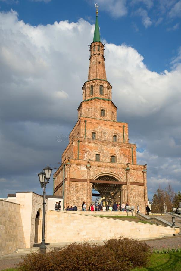 Πύργος Suyumbike, βράδυ Απριλίου KAZAN ΚΡΕΜΛΙΝΟ στοκ εικόνα