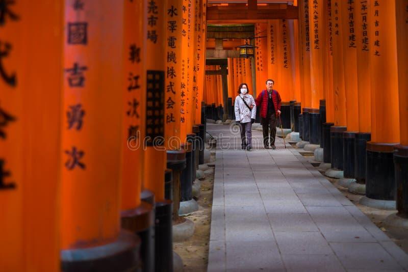 Πύλες Torii στη λάρνακα Fushimi Inari στοκ εικόνες