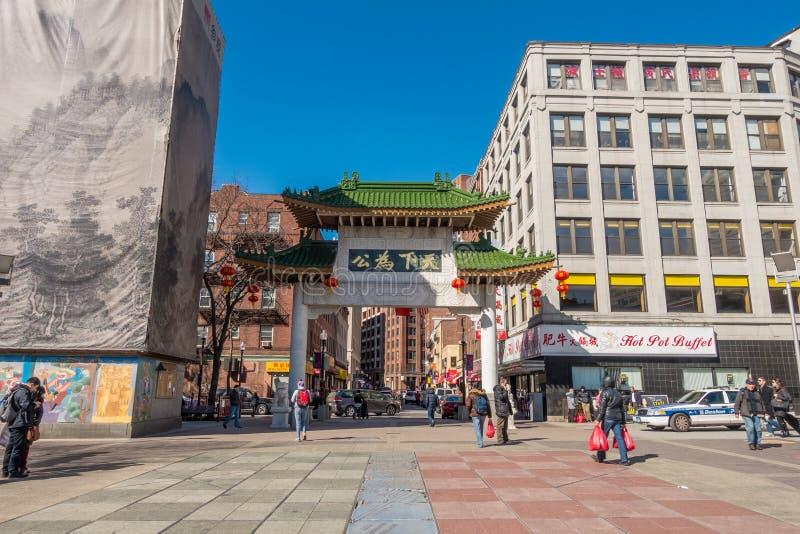Πύλη Βοστώνη Chinatown στοκ εικόνες