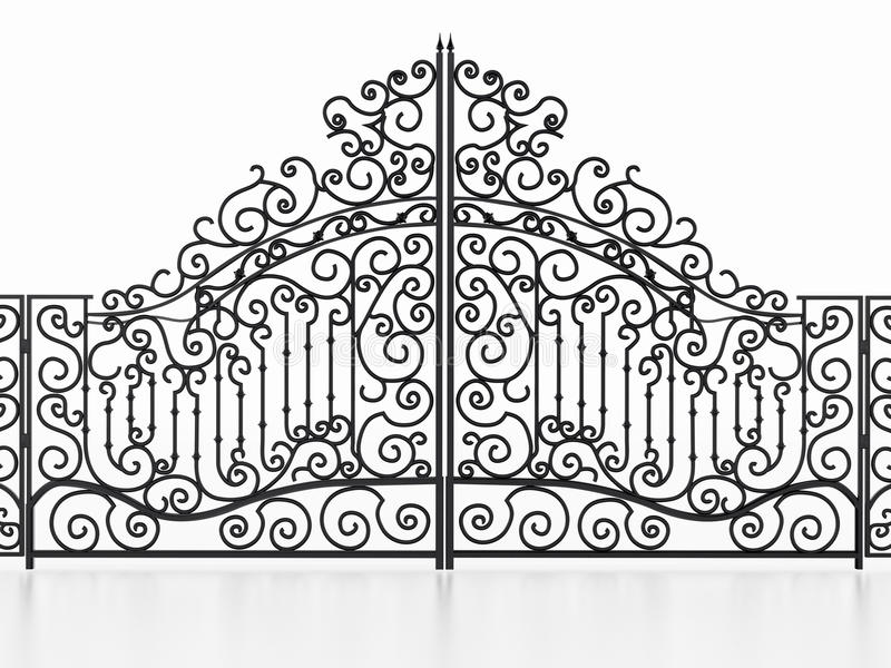 Πύλη επεξεργασμένου σιδήρου που απομονώνεται στο άσπρο υπόβαθρο τρισδιάστατη απεικόνιση ελεύθερη απεικόνιση δικαιώματος