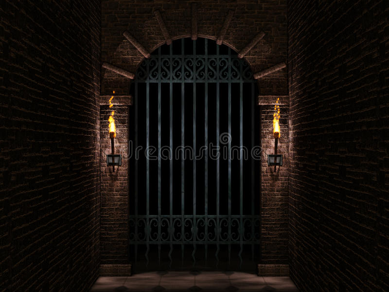 Πύλη κάστρων αψίδων και σιδήρου απεικόνιση αποθεμάτων