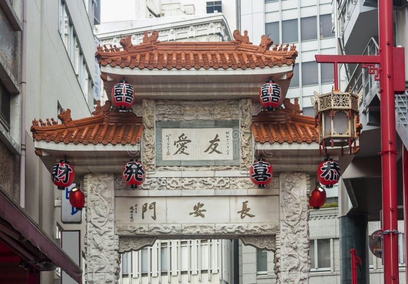 Πύλη στο Kobe Chinatown στην Ιαπωνία στοκ εικόνες με δικαίωμα ελεύθερης χρήσης