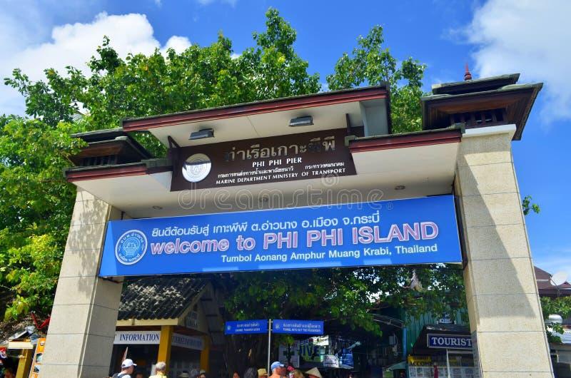 Πύλη της Phi Phi αποβάθρας νησιών, Ταϊλάνδη στοκ φωτογραφία με δικαίωμα ελεύθερης χρήσης