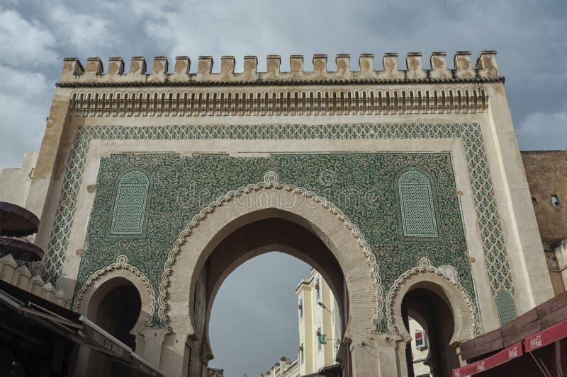 Πύλη Bou Jeloud Bab η μπλε πύλη που βρίσκεται στο Fez στοκ φωτογραφία με δικαίωμα ελεύθερης χρήσης