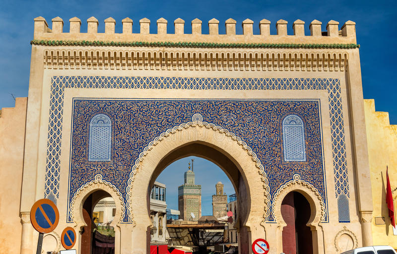 Πύλη Bou Jeloud Bab στο Fez, Μαρόκο στοκ εικόνες