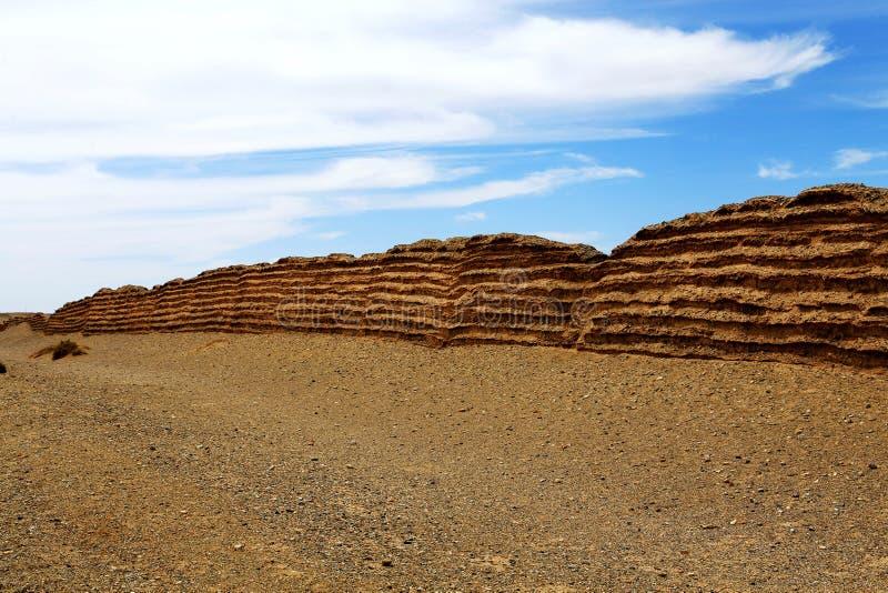 Πύλη Yumem και το Σινικό Τείχος στη δυναστεία Han στοκ φωτογραφία