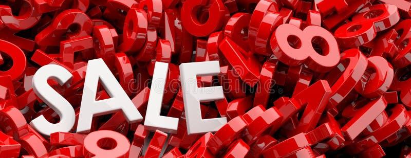 Πώληση, έννοια έκπτωσης Η άσπρη πώληση κειμένων επιστολών στους κόκκινους αριθμούς λογαριάζει το υπόβαθρο, έμβλημα τρισδιάστατη α απεικόνιση αποθεμάτων