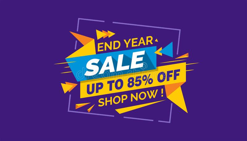 Πώληση έτους τελών, ζωηρόχρωμη ετικέτα εμβλημάτων πώλησης, κάρτα πώλησης Promo ελεύθερη απεικόνιση δικαιώματος