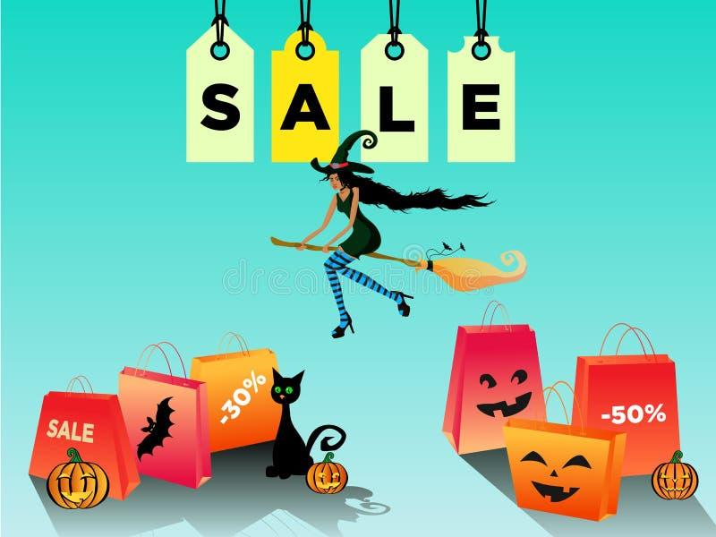 Πώληση αποκριών γυναικών, έκπτωση με μια όμορφη μάγισσα blackskin που πετά σε ένα σκουπόξυλο r διανυσματική απεικόνιση