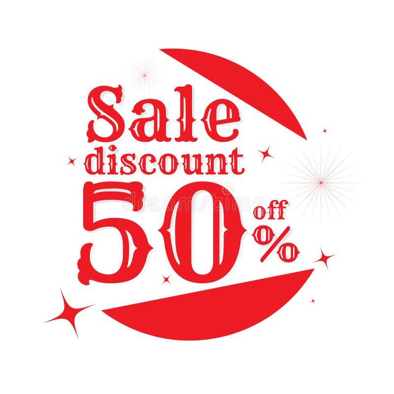 Πώληση από το κείμενο 50% έκπτωσης διάνυσμα Στην άσπρη ανασκόπηση απαγορευμένα απεικόνιση αποθεμάτων