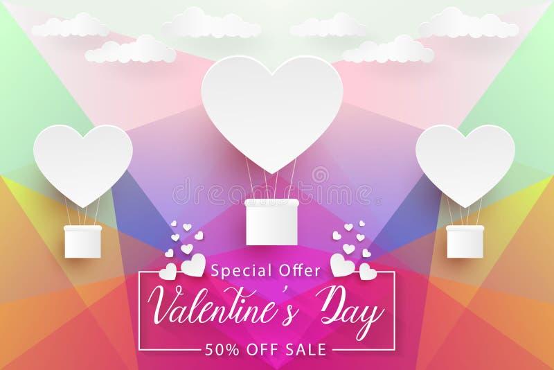 Πώληση ημέρας βαλεντίνων, ζωηρόχρωμο χαμηλό πολυ υπόβαθρο τέχνης εγγράφου με τα άσπρα μπαλόνια καρδιών, διάνυσμα απεικόνιση αποθεμάτων