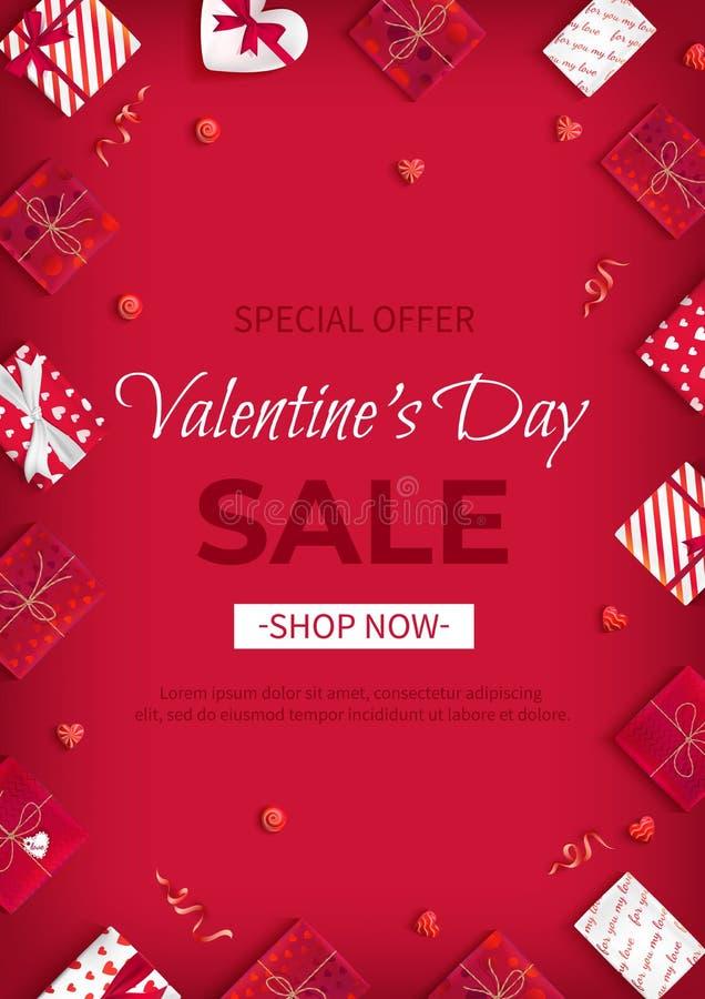 Πώληση ημέρας του ειδικού βαλεντίνου προσφοράς Ιπτάμενο έκπτωσης, μεγάλη εποχιακή πώληση Κάθετο υπόβαθρο εμβλημάτων Ιστού με τις  διανυσματική απεικόνιση