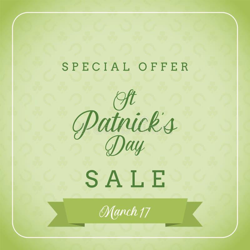 Πώληση ημέρας του ST Πάτρικ ` s και ειδικό έμβλημα προσφοράς στοκ εικόνα