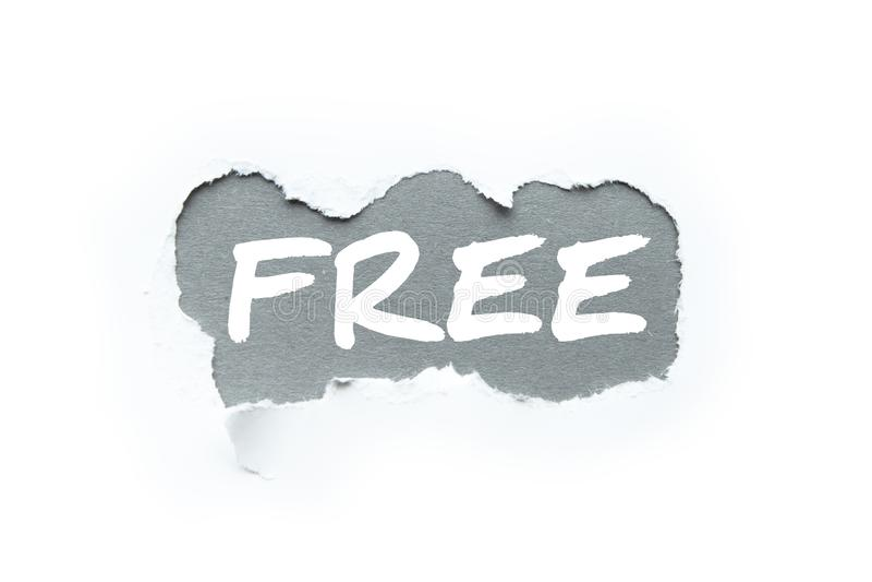 """Πώληση, η λέξη """"ελεύθερη """"στο σπάσιμο της Λευκής Βίβλου στοκ εικόνα με δικαίωμα ελεύθερης χρήσης"""