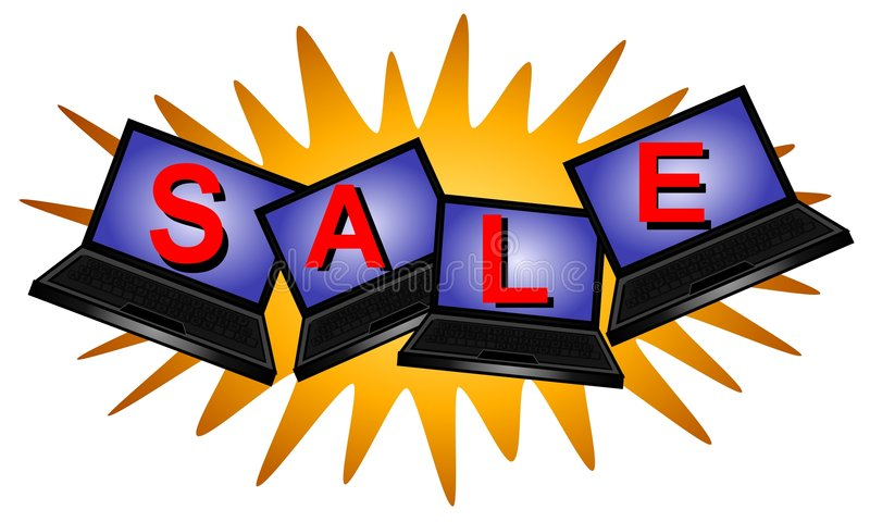 πώληση λογότυπων lap-top υπολ&omicr ελεύθερη απεικόνιση δικαιώματος