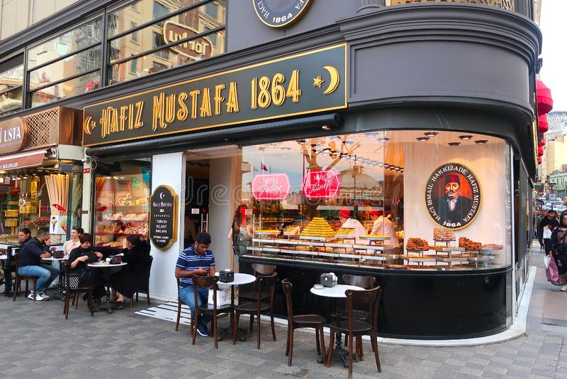 Πώληση των τουρκικών γλυκών στο κατάστημα στοκ φωτογραφία