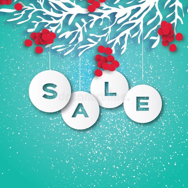 Πώληση Χριστουγέννων για την προώθηση έκπτωση Μπιχλιμπίδια περικοπών εγγράφου, κλάδος του Rowan και κόκκινο μούρο Χαράζοντας διακ απεικόνιση αποθεμάτων