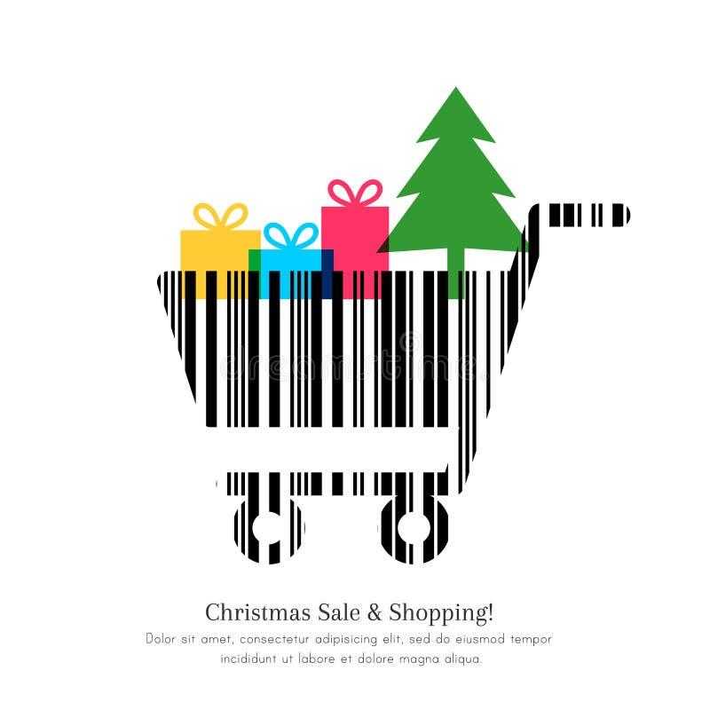 Πώληση Χριστουγέννων και έννοια αγορών ελεύθερη απεικόνιση δικαιώματος
