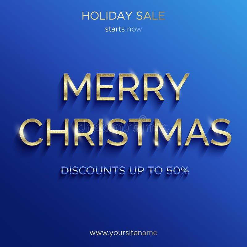 Πώληση Χριστουγέννων μέχρι 50 τοις εκατό Μπλε έμβλημα ελεύθερη απεικόνιση δικαιώματος