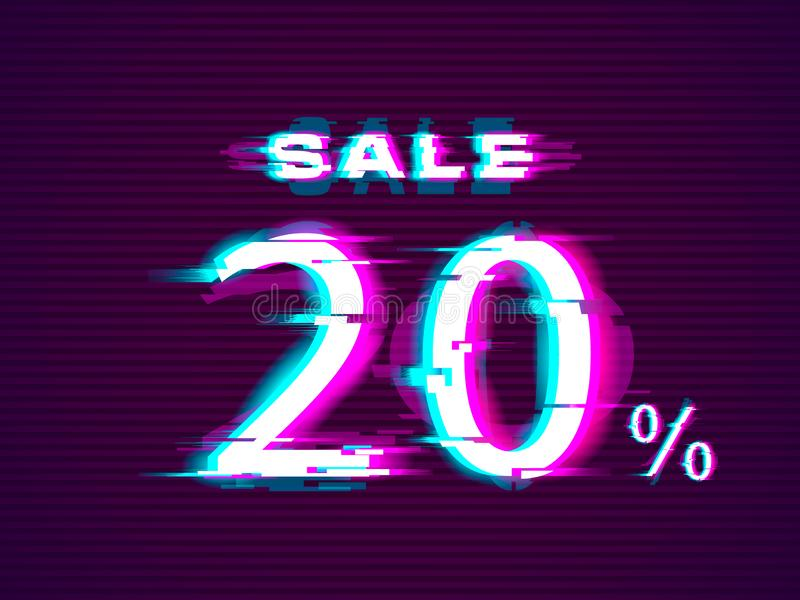Πώληση Glitched μέχρι 20 μακριά Διαστρεβλωμένο σύγχρονο υπόβαθρο ύφους δυσλειτουργίας απεικόνιση αποθεμάτων
