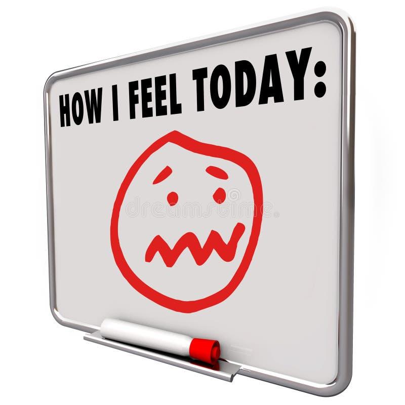 Πώς αισθάνομαι το σήμερα τονισμένο καταπονημένο ματαιωμένο λυπημένο πρόσωπο απεικόνιση αποθεμάτων