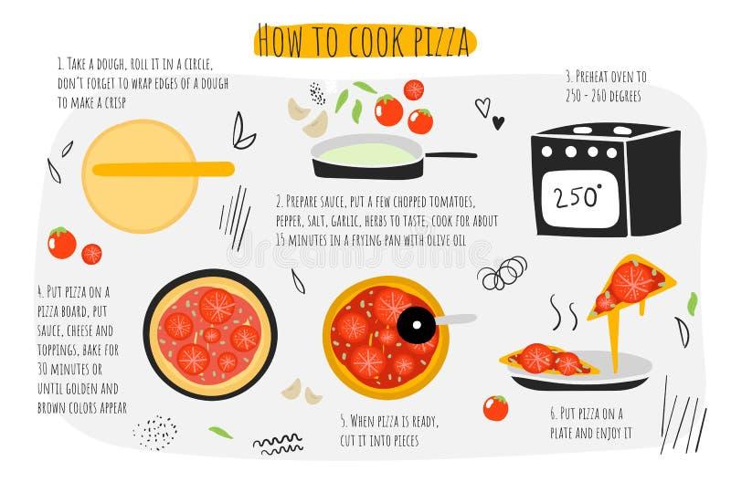 Πώς να μαγειρεψει τον οδηγό ζυμαρικών, οδηγίες, βήματα, infographic διανυσματική απεικόνιση