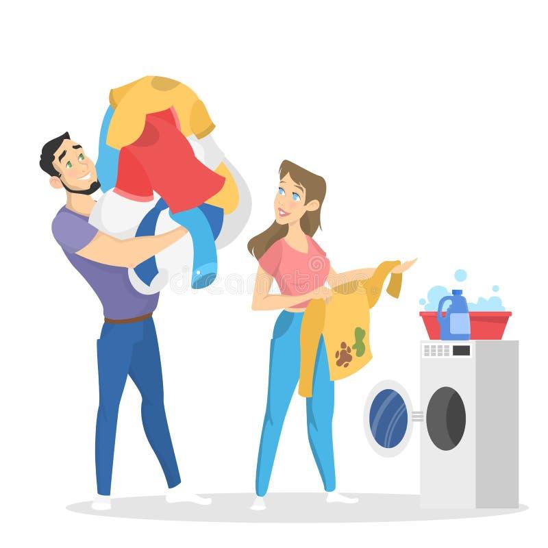 Πώς να πλύνει το βαθμιαίο οδηγό ενδυμάτων για τη νοικοκυρά απεικόνιση αποθεμάτων