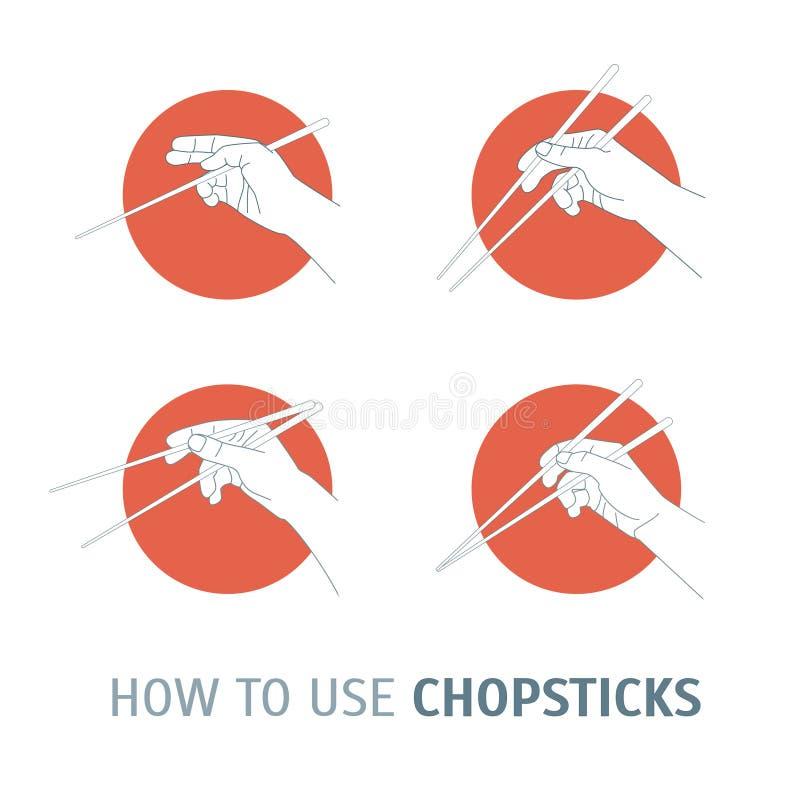 Πώς Chopsticks χρήσης κουζίνα Ασιάτης διάνυσμα ελεύθερη απεικόνιση δικαιώματος