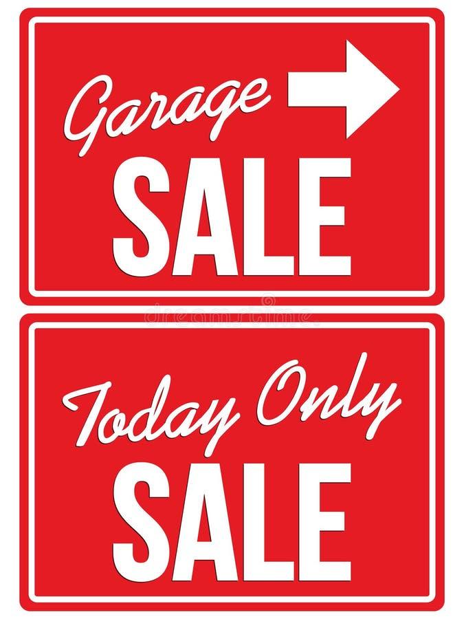Πώληση γκαράζ και σήμερα ΜΟΝΟ σημάδια ΠΩΛΗΣΗΣ διανυσματική απεικόνιση