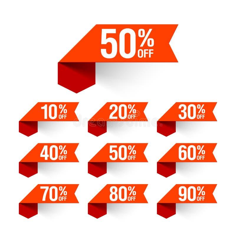 Πώληση, ετικέτες έκπτωσης διανυσματική απεικόνιση