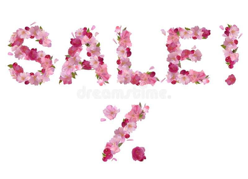 Πώληση - διανυσματική επιγραφή από τα λουλούδια κερασιών διανυσματική απεικόνιση