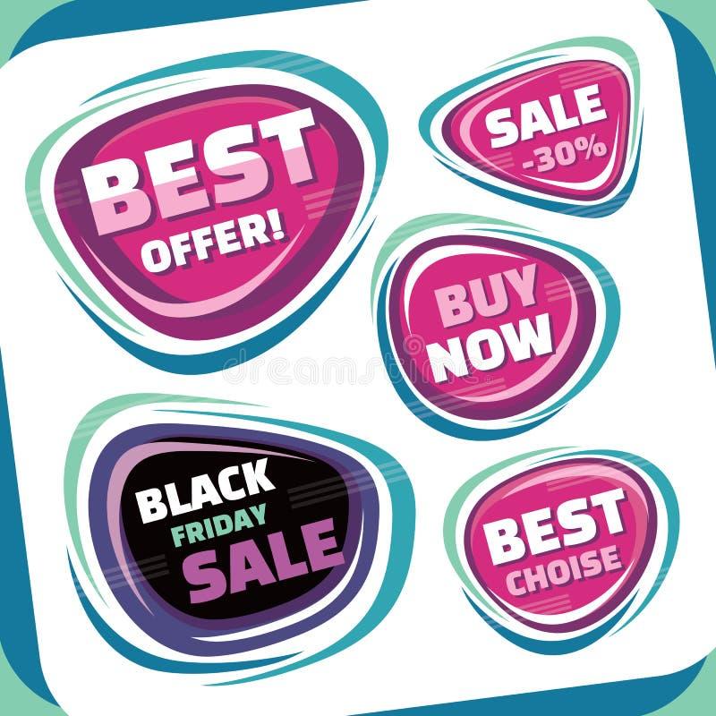 Πώληση - διανυσματική συλλογή διακριτικών Αφηρημένα διακριτικά πώλησης καθορισμένα Μαύρο αφηρημένο διακριτικό Παρασκευής Καλύτερο απεικόνιση αποθεμάτων