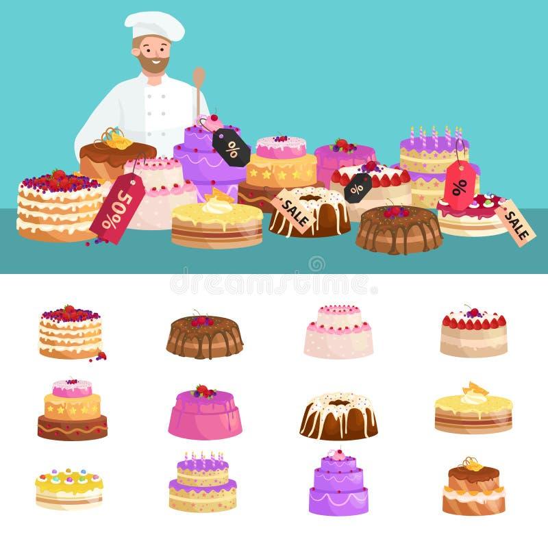 Πώληση καταστημάτων βιομηχανιών ζαχαρωδών προϊόντων Σύνολο γλυκών, κέικ Επιδόρπια επίσης corel σύρετε το διάνυσμα απεικόνισης ελεύθερη απεικόνιση δικαιώματος