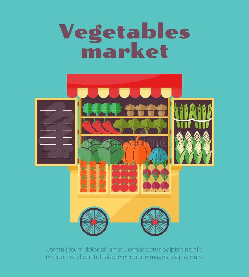 Πώληση οδών αγοράς αγροτικών λαχανικών διανυσματική απεικόνιση