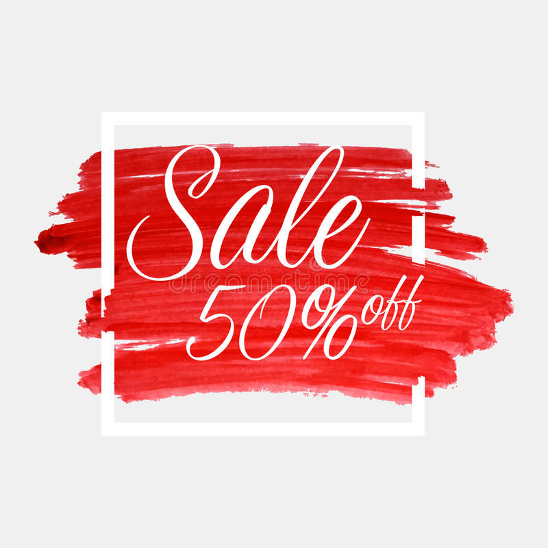 Πώληση, 50 τοις εκατό από την εγγραφή στο κτύπημα watercolor με το άσπρο πλαίσιο Κόκκινη σύσταση χρωμάτων βουρτσών υποβάθρου grun ελεύθερη απεικόνιση δικαιώματος