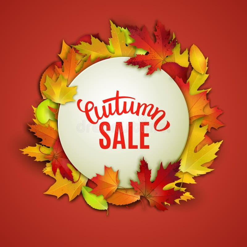 Πώληση φθινοπώρου, ετικέτα τιμών, διανυσματική απεικόνιση διαφήμισης με τα φύλλα φθινοπώρου ελεύθερη απεικόνιση δικαιώματος