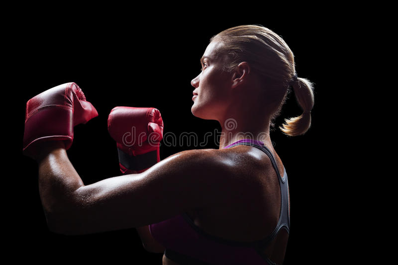 Πλάγια όψη του θηλυκού μπόξερ με την πάλη της θέσης στοκ φωτογραφία με δικαίωμα ελεύθερης χρήσης
