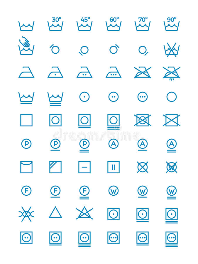 Πλένοντας και συστρέφοντας, διανυσματικά σύμβολα ξήρανσης και σιδερώματος για τις ετικέτες ενδυμάτων Εικονίδια γραμμών προσοχής ε απεικόνιση αποθεμάτων
