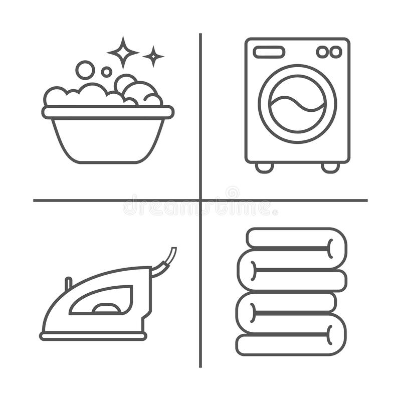 Πλένοντας, σιδερώνοντας, καθαρά εικονίδια γραμμών πλυντηρίων Πλυντήριο, σίδηρος, handwash και άλλο clining εικονίδιο Διαταγή στο  απεικόνιση αποθεμάτων