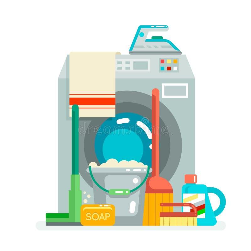 Πλένοντας τα καθαρίζοντας εικονίδια προμηθειών έννοιας οριζόντια διανυσματική απεικόνιση