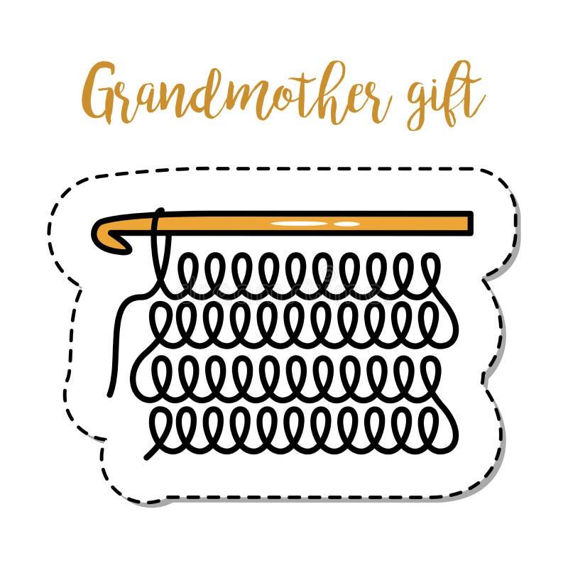 Πλέξιμο γιαγιάδων στοιχείων μπαλωμάτων μόδας απεικόνιση αποθεμάτων