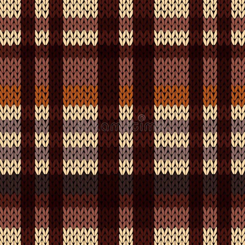 Πλέξιμο του άνευ ραφής σχεδίου στα καφετιά, μπεζ και χρώματα καφέ διανυσματική απεικόνιση