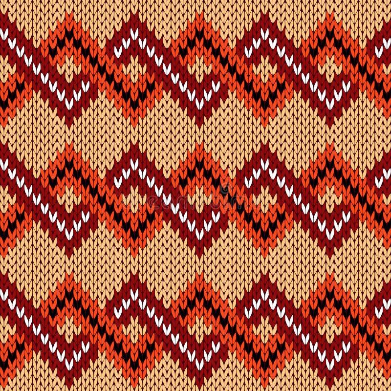 Πλέξιμο του άνευ ραφής σχεδίου τρεκλίσματος στα διάφορα θερμά χρώματα διανυσματική απεικόνιση