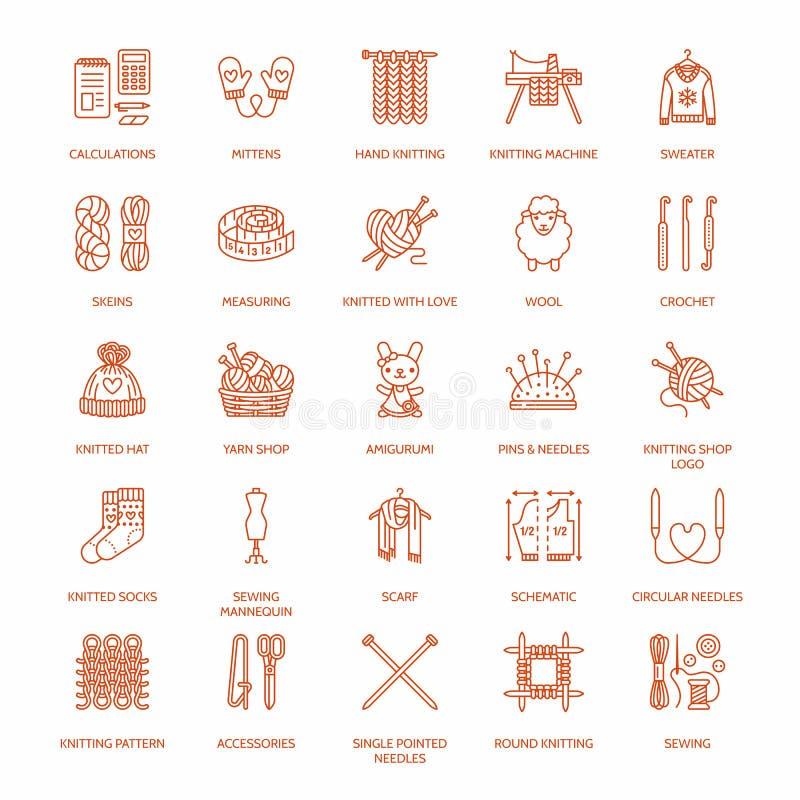 Πλέξιμο, τσιγγελάκι, χέρι - γίνοντα εικονίδια γραμμών καθορισμένα Πλέκοντας βελόνα, γάντζος, μαντίλι, κάλτσες, σχέδιο, νηματοδέμα ελεύθερη απεικόνιση δικαιώματος
