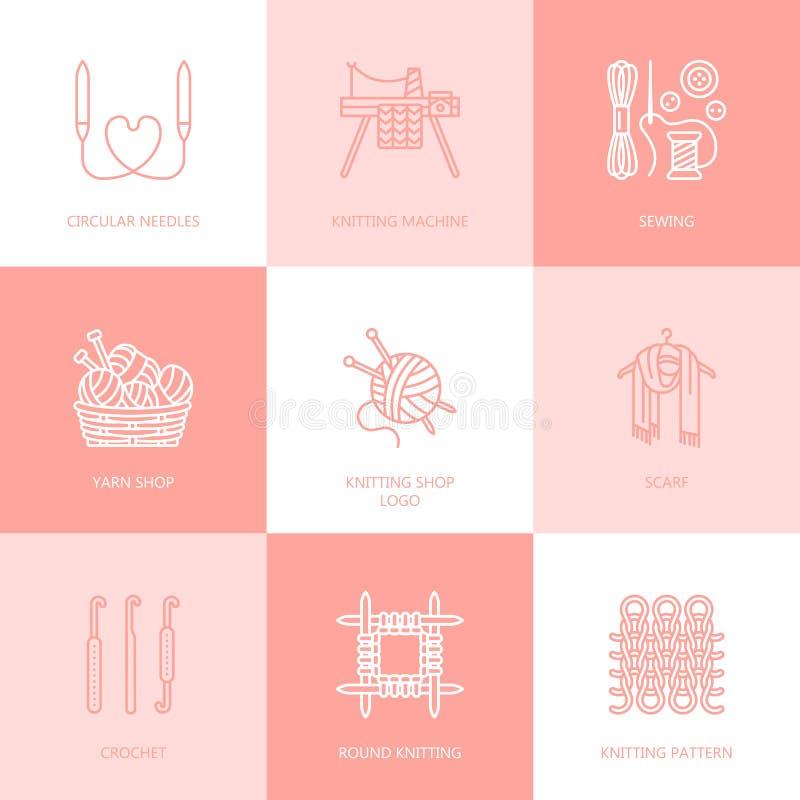 Πλέξιμο, τσιγγελάκι, χέρι - γίνοντα εικονίδια γραμμών καθορισμένα Πλέκοντας βελόνα, γάντζος, μαντίλι, κάλτσες, σχέδιο, νηματοδέμα διανυσματική απεικόνιση