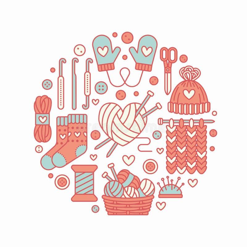 Πλέξιμο, τσιγγελάκι, χέρι - γίνοντη απεικόνιση εμβλημάτων Διανυσματική πλέκοντας βελόνα εικονιδίων γραμμών, γάντζος, μαντίλι, κάλ διανυσματική απεικόνιση